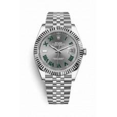 Réplica Rolex Datejust 41 Blanco Rolesor OysterAcero Oro blanco 126334 Slate Dial Reloj