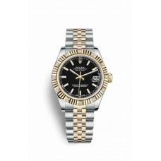 Réplica Rolex Datejust 31 Rolesor Oyster Acero oro amarillo 178313 Negro Dial Reloj