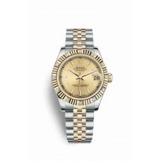 Réplica Rolex Datejust 31 Rolesor Oyster Acero oro amarillo 178313 Champagne-colour Dial Reloj