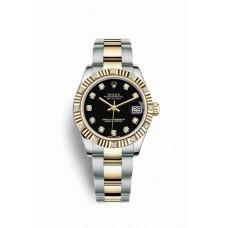 Réplica Rolex Datejust 31 Rolesor Oyster Acero oro amarillo 178313 Negro Diamantes Dial Reloj