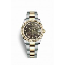 Réplica Rolex Datejust 31 Rolesor Oyster Acero oro amarillo 178313 Negro mother-of-pearl Jubilee Diamantes Dial Reloj