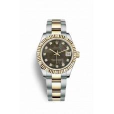 Réplica Rolex Datejust 31 Rolesor Oyster Acero oro amarillo 178313 Negro mother-of-pearl Diamantes Dial Reloj