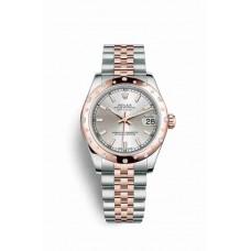 Réplica Rolex Datejust 31 Everose Rolesor OysterAcero Everose oro 178341 plata Dial Reloj