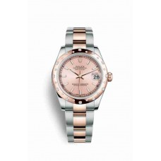 Réplica Rolex Datejust 31 Everose Rolesor OysterAcero Everose oro 178341 Rosado Dial Reloj