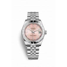 Réplica Rolex Datejust 31 Blanco Rolesor OysterAcero Oro blanco 178344 Rosado Dial Reloj