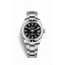 Réplica Rolex Datejust 31 Blanco Rolesor OysterAcero Oro blanco 178344 Negro Dial Reloj