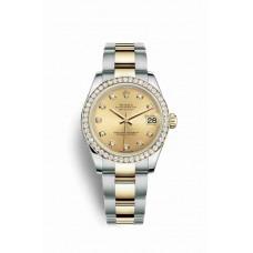 Réplica Rolex Datejust 31 Rolesor Oyster Acero oro amarillo 178383 Champagne-colour Diamantes Dial Reloj