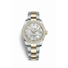 Réplica Rolex Datejust 31 Rolesor Oyster Acero oro amarillo 178383 Blanco mother-of-pearl Diamantes Dial Reloj