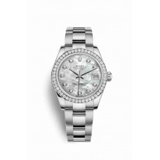Réplica Rolex Datejust 31 Blanco Rolesor OysterAcero Oro blanco 178384 Blanco mother-of-pearl Diamantes Dial Reloj