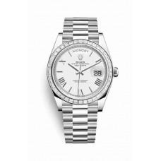 Réplica Rolex Day-Date 40 Platinum 228396TBR Blanco Dial Reloj