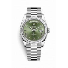 Réplica Rolex Day-Date 40 Platinum 228396TBR Olive verde Dial Reloj