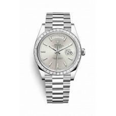 Réplica Rolex Day-Date 40 Platinum 228396TBR plata stripe motif Dial Reloj