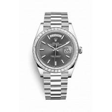 Réplica Rolex Day-Date 40 Platinum 228396TBR Rodio oscuro stripe motif Dial Reloj