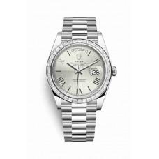 Réplica Rolex Day-Date 40 Platinum 228396TBR plata quadrant motif Dial Reloj