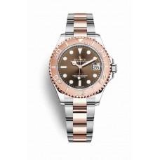 Réplica Rolex Yacht-Master 37 Everose Rolesor OysterAcero Everose oro 268621 Chocolate Dial Reloj