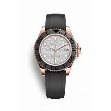Réplica Rolex Yacht-Master 37 Everose oro 268655 Diamante-paved Dial Reloj