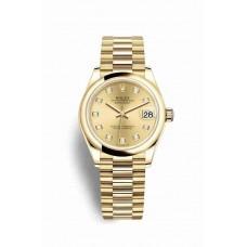 Réplica Rolex Datejust 31 oro amarillo 278248 Champagne-colour Diamantes Dial Reloj