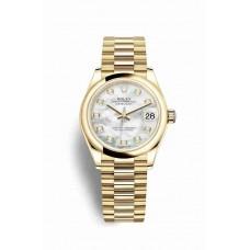Réplica Rolex Datejust 31 oro amarillo 278248 Blanco mother-of-pearl Diamantes Dial Reloj