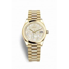 Réplica Rolex Datejust 31 oro amarillo 278248 Paved mother-of-pearl butterfly Dial Reloj