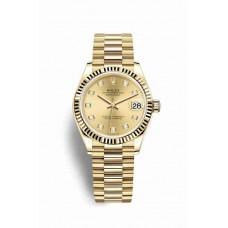Réplica Rolex Datejust 31 oro amarillo 278278 Champagne-colour Diamantes Dial Reloj