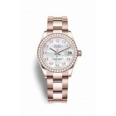 Réplica Rolex Datejust 31 Everose oro 278285RBR Blanco mother-of-pearl Diamantes Dial Reloj