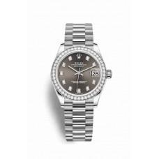 Réplica Rolex Datejust 31 Oro blanco 278289RBR Gris Oscuro Diamantes Dial Reloj