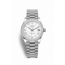 Réplica Rolex Datejust 31 Oro blanco 278289RBR Blanco Dial Reloj