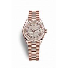 Réplica Rolex Datejust 28 Everose oro 279135RBR Diamante-paved Dial Reloj