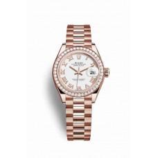 Réplica Rolex Datejust 28 Everose oro 279135RBR Blanco Dial Reloj