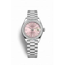 Réplica Rolex Datejust 28 Platinum 279136RBR Rosado Dial Reloj
