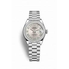 Réplica Rolex Datejust 28 Platinum 279136RBR plata Dial Reloj