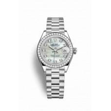 Réplica Rolex Datejust 28 Platinum 279136RBR Blanco mother-of-pearl Diamantes Dial Reloj