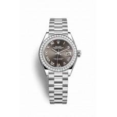 Réplica Rolex Datejust 28 Platinum 279136RBR Gris Oscuro Dial Reloj