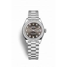 Réplica Rolex Datejust 28 Platinum 279136RBR Gris Oscuro Diamantes Dial Reloj