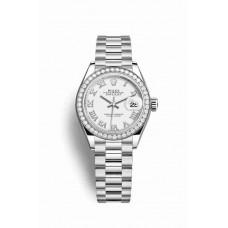 Réplica Rolex Datejust 28 Platinum 279136RBR Blanco Dial Reloj