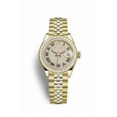 Réplica Rolex Datejust 28 oro amarillo 279138RBR Diamante-paved Dial Reloj