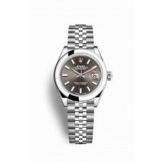 Réplica Rolex Datejust 28 OysterAcero 279160 Gris Oscuro Dial Reloj