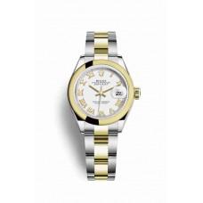 Réplica Rolex Datejust 28 Rolesor Oyster Acero oro amarillo 279163 Blanco Dial Reloj