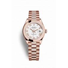 Réplica Rolex Datejust 28 Everose oro 279165 Blanco Dial Reloj