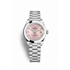 Réplica Rolex Datejust 28 Platinum 279166 Rosado Diamantes Dial Reloj