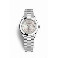 Réplica Rolex Datejust 28 Platinum 279166 plata Dial Reloj