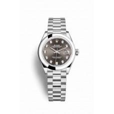 Réplica Rolex Datejust 28 Platinum 279166 Gris Oscuro Diamantes Dial Reloj