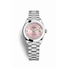 Réplica Rolex Datejust 28 Platinum 279166 Rosado Dial Reloj