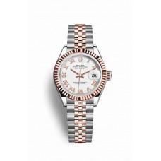 Réplica Rolex Datejust 28 Everose Rolesor OysterAcero Everose oro 279171 Blanco Dial Reloj