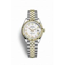 Réplica Rolex Datejust 28 Rolesor Oyster Acero oro amarillo 279173 Blanco Dial Reloj
