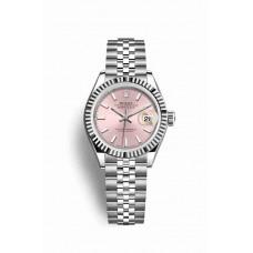 Réplica Rolex Datejust 28 Blanco Rolesor OysterAcero Oro blanco 279174 Rosado Dial Reloj