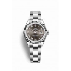 Réplica Rolex Datejust 28 Blanco Rolesor OysterAcero Oro blanco 279174 Gris Oscuro Dial Reloj