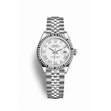 Réplica Rolex Datejust 28 Blanco Rolesor Oystersteel Oro blanco 279174 Blanco Dial Reloj