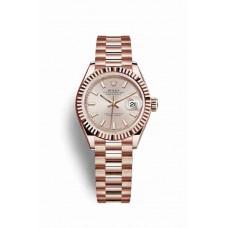 Réplica Rolex Datejust 28 Everose oro 279175 Sundust Dial Reloj