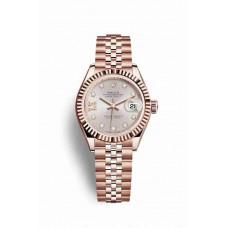 Réplica Rolex Datejust 28 Everose oro 279175 Sundust Diamantes Dial Reloj